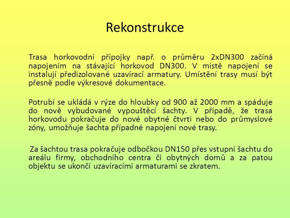 Rekonstrukce Trasa horkovodní přípojky např. o průměru 2xDN300 začíná napojením na stávající horkovod DN300. V místě napojení se instalují předizolova