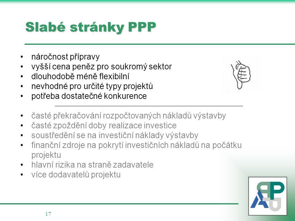 17 Slabé stránky PPP náročnost přípravy vyšší cena peněz pro soukromý sektor dlouhodobě méně flexibilní nevhodné pro určité typy projektů potřeba dost