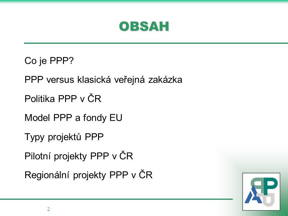 2 OBSAH Co je PPP? PPP versus klasická veřejná zakázka Politika PPP v ČR Model PPP a fondy EU Typy projektů PPP Pilotní projekty PPP v ČR Regionální p