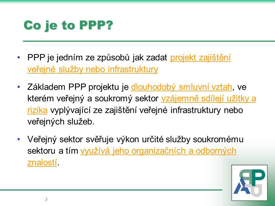 3 Co je to PPP? PPP je jedním ze způsobů jak zadat projekt zajištění veřejné služby nebo infrastruktury Základem PPP projektu je dlouhodobý smluvní vz