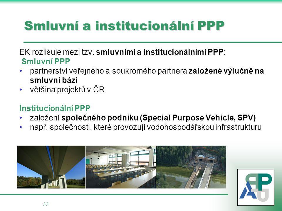 33 Smluvní a institucionální PPP EK rozlišuje mezi tzv. smluvními a institucionálními PPP: Smluvní PPP partnerství veřejného a soukromého partnera zal