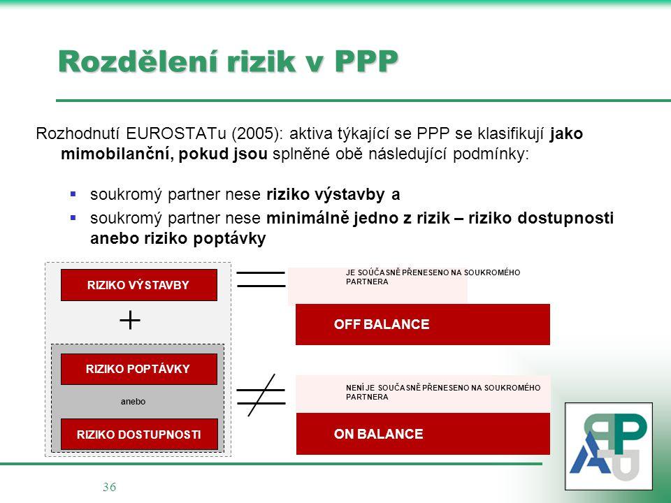 36 Rozdělení rizik v PPP Rozhodnutí EUROSTATu (2005): aktiva týkající se PPP se klasifikují jako mimobilanční, pokud jsou splněné obě následující podm