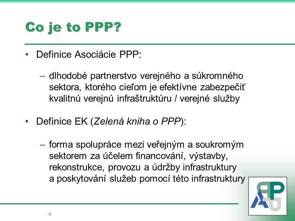 4 Co je to PPP? Definice Asociácie PPP: –dlhodobé partnerstvo verejného a súkromného sektora, ktorého cieľom je efektívne zabezpečiť kvalitnú verejnú