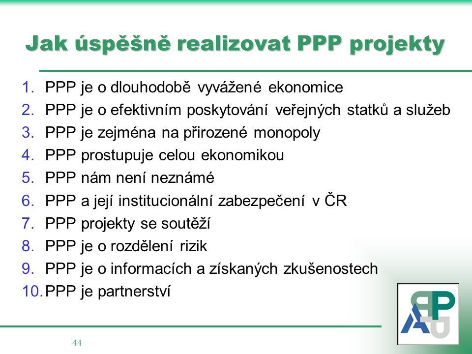 44 Jak úspěšně realizovat PPP projekty 1.PPP je o dlouhodobě vyvážené ekonomice 2.PPP je o efektivním poskytování veřejných statků a služeb 3.PPP je z