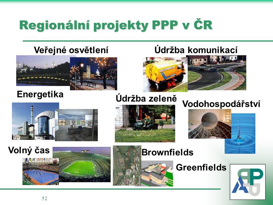 52 Regionální projekty PPP v ČR Veřejné osvětlení Údržba komunikací Údržba zeleně Vodohospodářství Energetika Brownfields Greenfields Volný čas