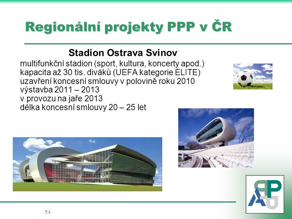 54 Regionální projekty PPP v ČR Stadion Ostrava Svinov multifunkční stadion (sport, kultura, koncerty apod.) kapacita až 30 tis. diváků (UEFA kategori