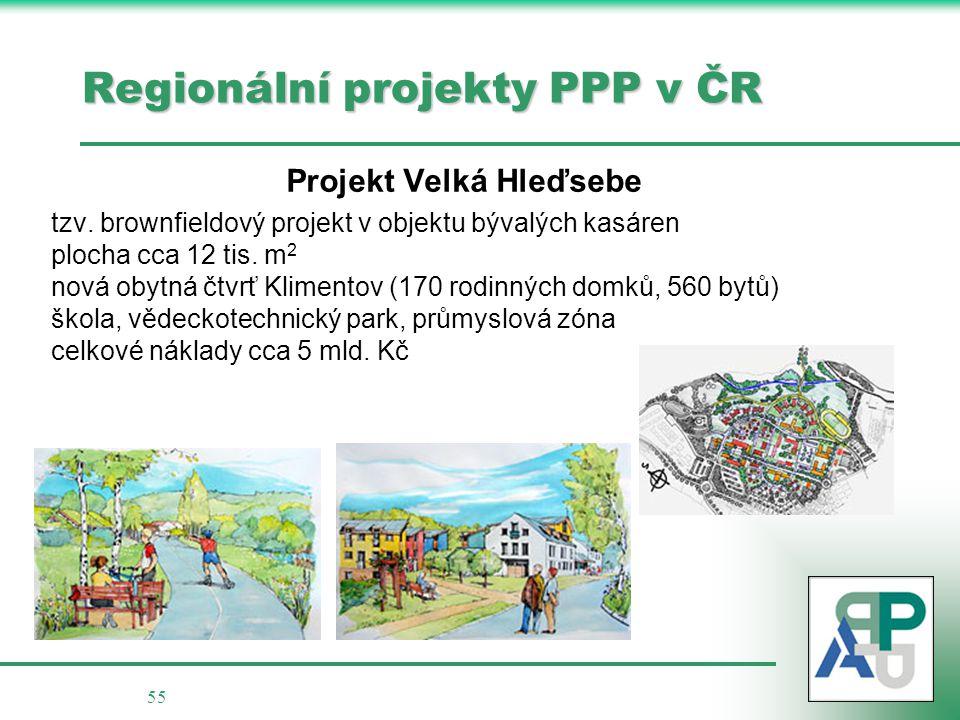 55 Regionální projekty PPP v ČR Projekt Velká Hleďsebe tzv. brownfieldový projekt v objektu bývalých kasáren plocha cca 12 tis. m 2 nová obytná čtvrť
