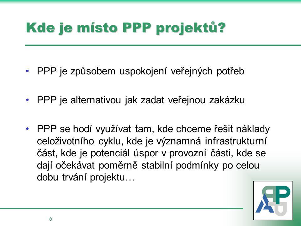 6 Kde je místo PPP projektů? PPP je způsobem uspokojení veřejných potřeb PPP je alternativou jak zadat veřejnou zakázku PPP se hodí využívat tam, kde