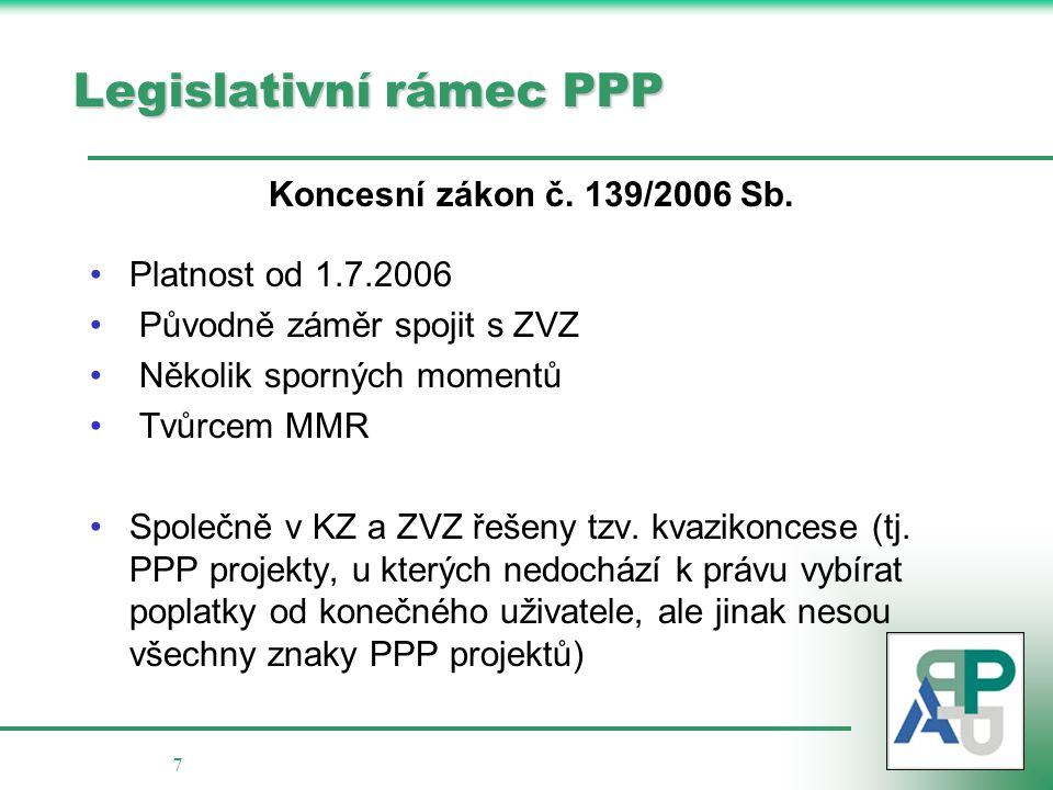 7 Legislativní rámec PPP Koncesní zákon č. 139/2006 Sb. Platnost od 1.7.2006 Původně záměr spojit s ZVZ Několik sporných momentů Tvůrcem MMR Společně