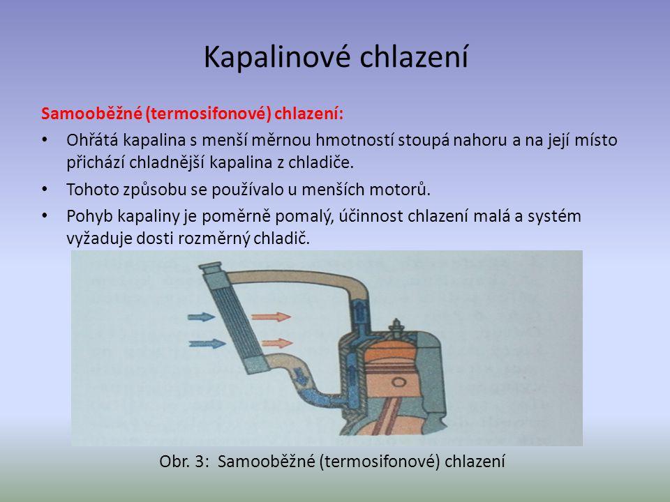 Kapalinové chlazení Samooběžné (termosifonové) chlazení: Ohřátá kapalina s menší měrnou hmotností stoupá nahoru a na její místo přichází chladnější ka