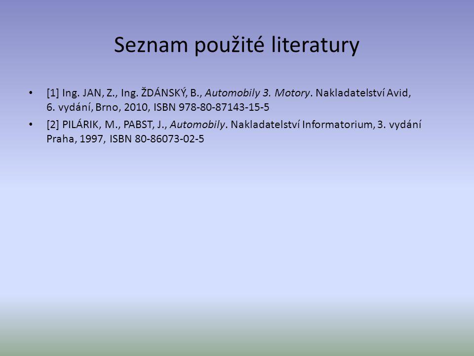 Seznam použité literatury [1] Ing. JAN, Z., Ing. ŽDÁNSKÝ, B., Automobily 3. Motory. Nakladatelství Avid, 6. vydání, Brno, 2010, ISBN 978-80-87143-15-5