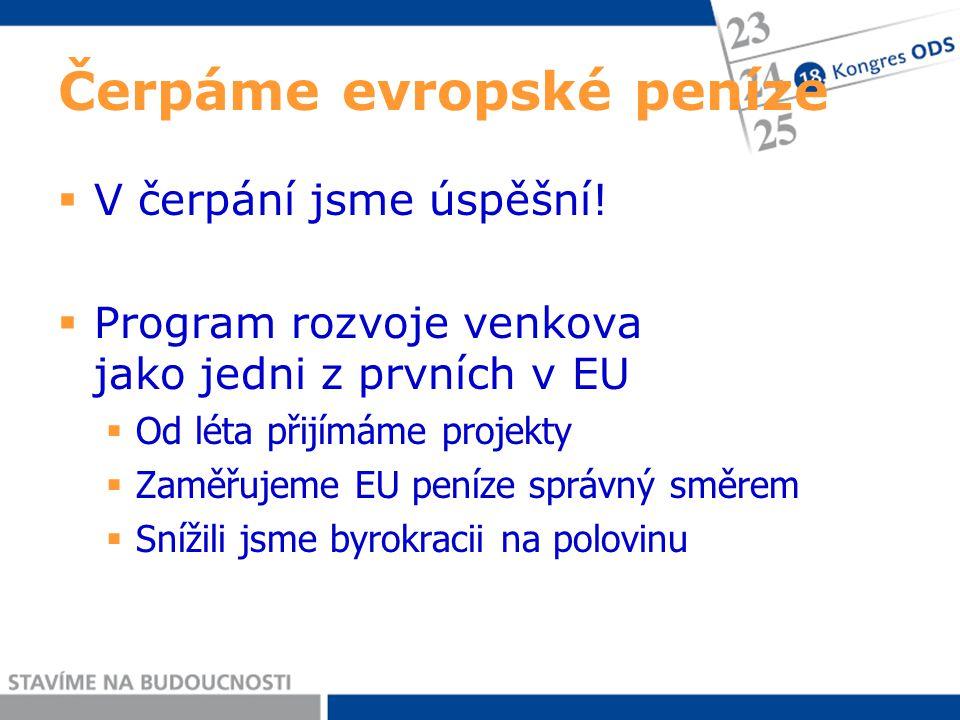 Čerpáme evropské peníze  V čerpání jsme úspěšní!  Program rozvoje venkova jako jedni z prvních v EU  Od léta přijímáme projekty  Zaměřujeme EU pen