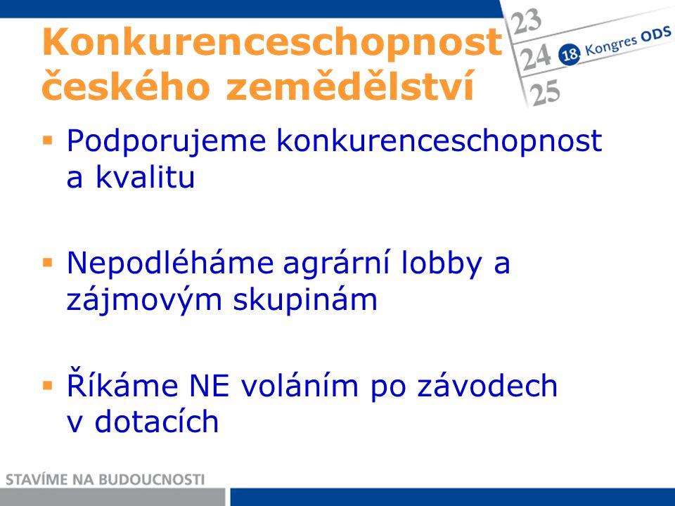 Konkurenceschopnost českého zemědělství  Podporujeme konkurenceschopnost a kvalitu  Nepodléháme agrární lobby a zájmovým skupinám  Říkáme NE voláním po závodech v dotacích