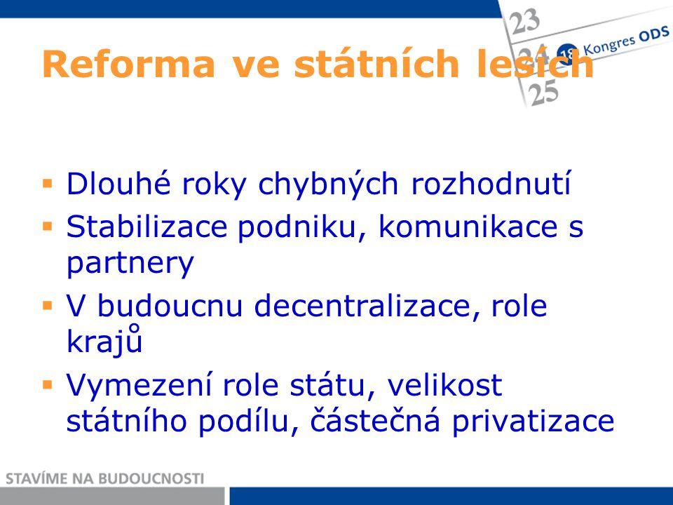 Reforma ve státních lesích  Dlouhé roky chybných rozhodnutí  Stabilizace podniku, komunikace s partnery  V budoucnu decentralizace, role krajů  Vymezení role státu, velikost státního podílu, částečná privatizace