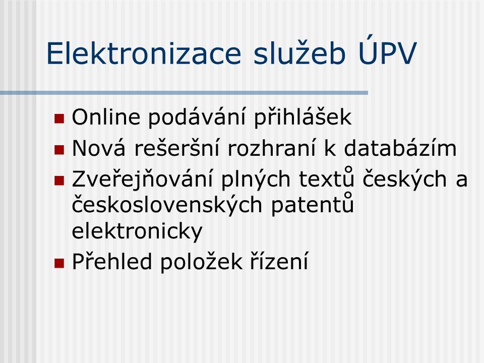 Elektronizace služeb ÚPV Online podávání přihlášek Nová rešeršní rozhraní k databázím Zveřejňování plných textů českých a československých patentů elektronicky Přehled položek řízení
