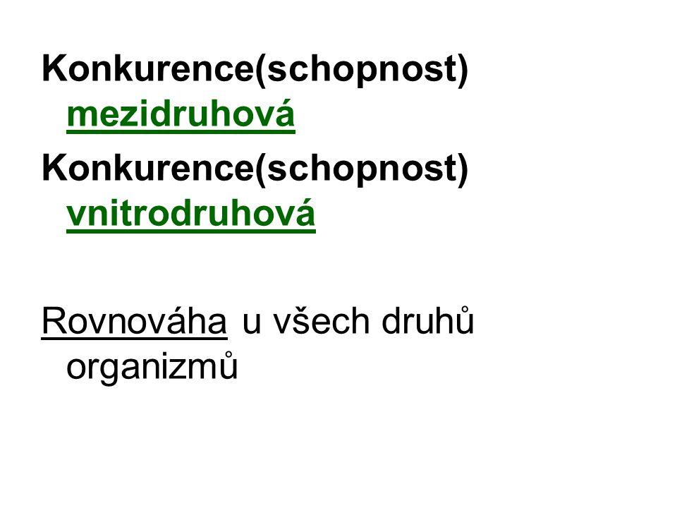 Konkurence(schopnost) mezidruhová Konkurence(schopnost) vnitrodruhová Rovnováha u všech druhů organizmů