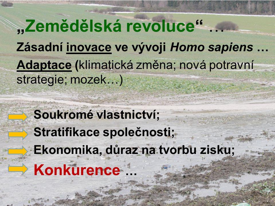 """""""Zemědělská revoluce … Zásadní inovace ve vývoji Homo sapiens … Adaptace (klimatická změna; nová potravní strategie; mozek…) Soukromé vlastnictví; Stratifikace společnosti; Ekonomika, důraz na tvorbu zisku; Konkurence …"""