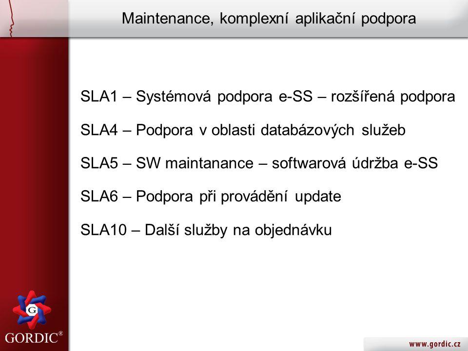 Maintenance, komplexní aplikační podpora SLA1 – Systémová podpora e-SS – rozšířená podpora SLA4 – Podpora v oblasti databázových služeb SLA5 – SW maintanance – softwarová údržba e-SS SLA6 – Podpora při provádění update SLA10 – Další služby na objednávku
