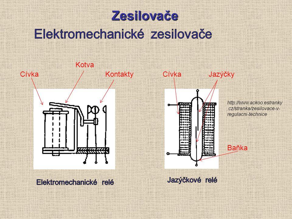 Zesilovače http://www.ackoo.estranky.cz/stranka/zesilovace-v- regulacni-technice Cívka Kotva KontaktyCívkaJazýčky Baňka