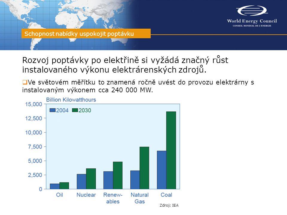 Rozvoj poptávky po elektřině si vyžádá značný růst instalovaného výkonu elektrárenských zdrojů.  Ve světovém měřítku to znamená ročně uvést do provoz