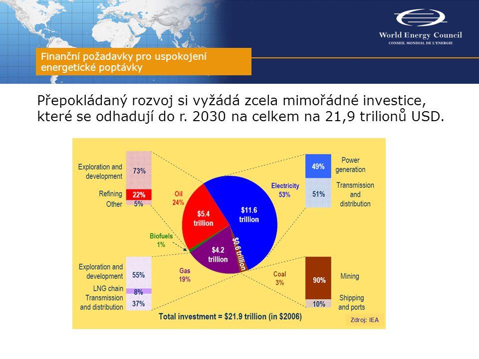 Přepokládaný rozvoj si vyžádá zcela mimořádné investice, které se odhadují do r. 2030 na celkem na 21,9 trilionů USD. Finanční požadavky pro uspokojen
