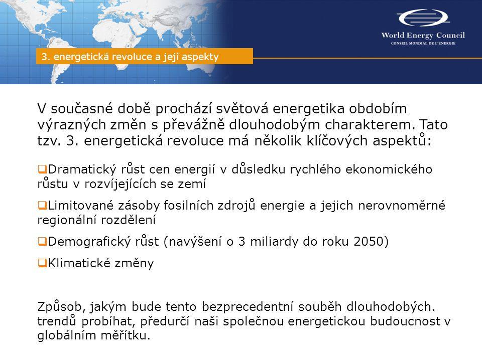 """Jedna z hlavních studií WEC zpracovaná v rozmezí let 2005 až 2007 """"Rozhodnutí o budoucnosti: Scénáře energetické politiky do roku 2050 definuje čtyři klíčové aspekty ovlivňující budoucí energetiku:  Požadavky vyplývající z poptávky  Schopnost nabídky uspokojit poptávku  Environmentální aspekty energetiky  Politické aspekty energetiky Klíčové vlivy formující energetickou budoucnost světa"""