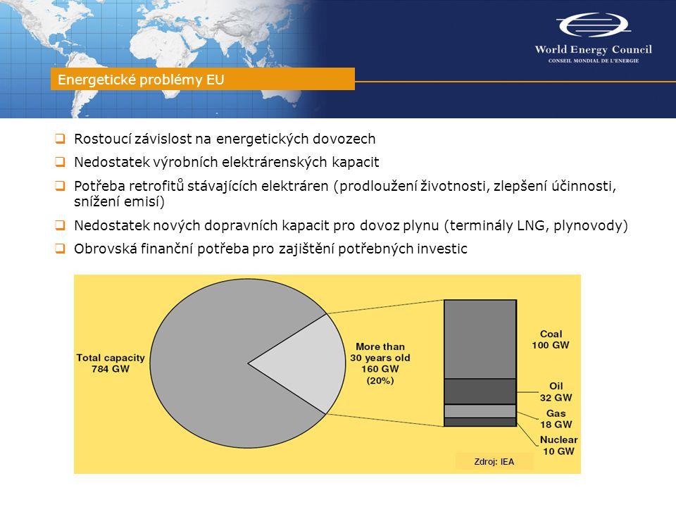 Energetické problémy EU Zdroj: IEA  Rostoucí závislost na energetických dovozech  Nedostatek výrobních elektrárenských kapacit  Potřeba retrofitů stávajících elektráren (prodloužení životnosti, zlepšení účinnosti, snížení emisí)  Nedostatek nových dopravních kapacit pro dovoz plynu (terminály LNG, plynovody)  Obrovská finanční potřeba pro zajištění potřebných investic