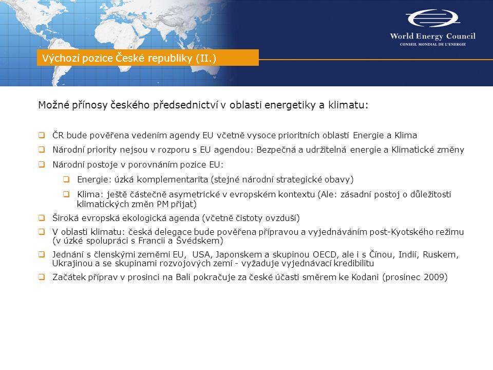 Možné přínosy českého předsednictví v oblasti energetiky a klimatu:  ČR bude pověřena vedením agendy EU včetně vysoce prioritních oblastí Energie a K