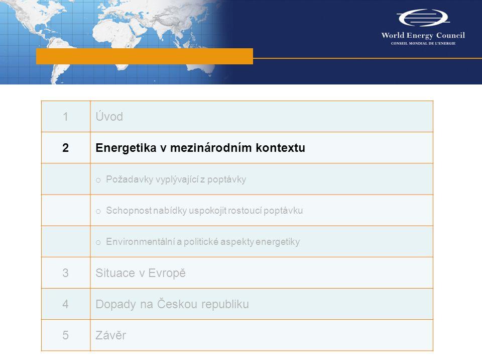 1Úvod 2Energetika v mezinárodním kontextu o Požadavky vyplývající z poptávky o Schopnost nabídky uspokojit rostoucí poptávku o Environmentální a politické aspekty energetiky 3Situace v Evropě 4Dopady na Českou republiku 5Závěr