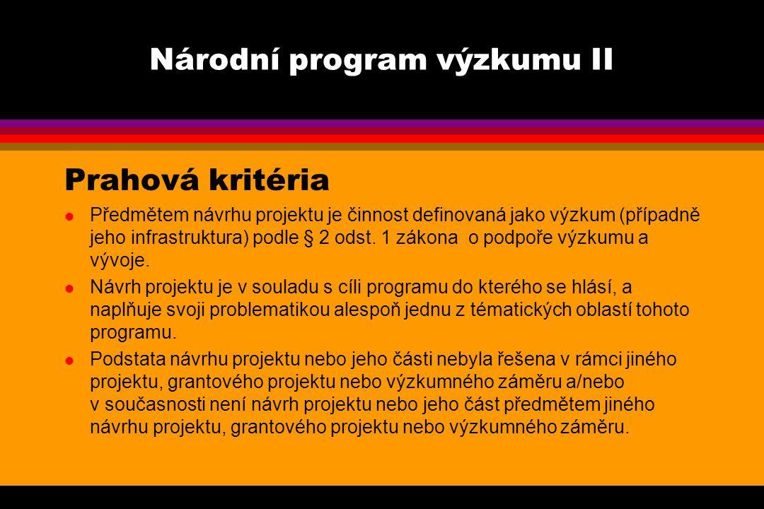Národní program výzkumu II Prahová kritéria l Předmětem návrhu projektu je činnost definovaná jako výzkum (případně jeho infrastruktura) podle § 2 odst.