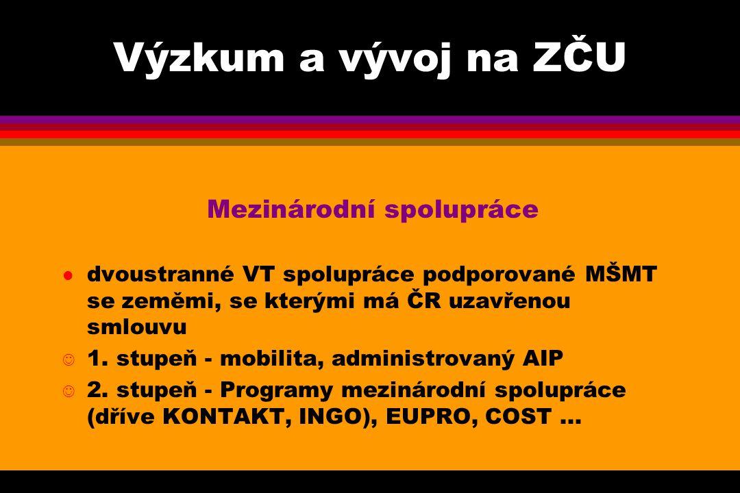 Výzkum a vývoj na ZČU Mezinárodní spolupráce l dvoustranné VT spolupráce podporované MŠMT se zeměmi, se kterými má ČR uzavřenou smlouvu J 1.