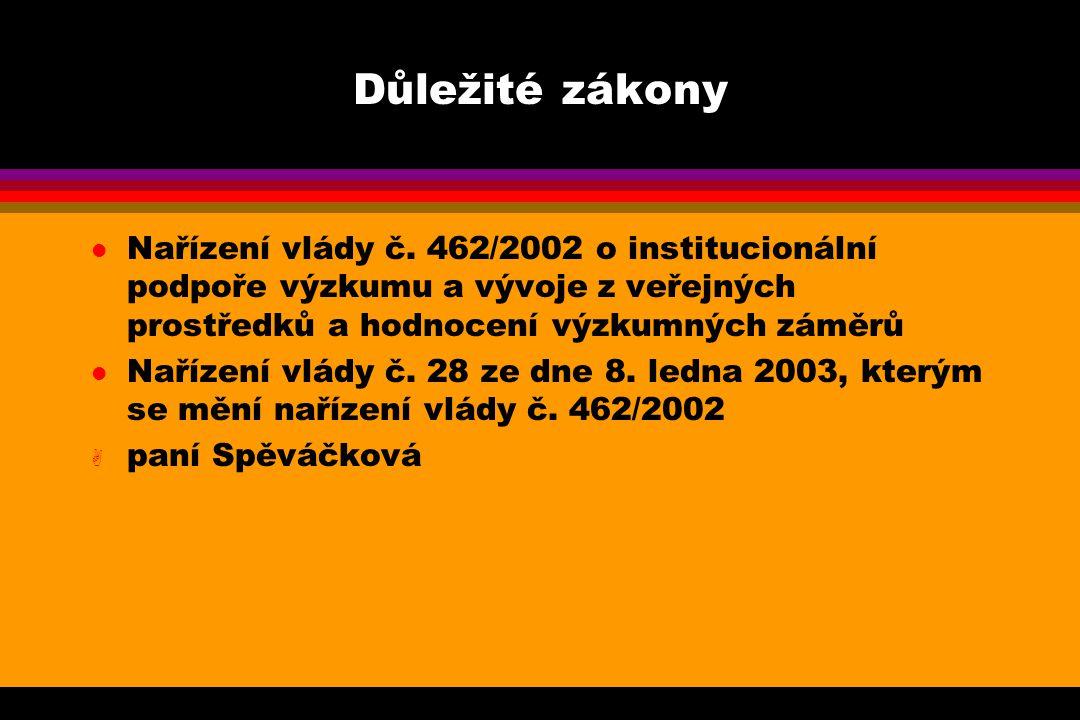 Důležité zákony l Nařízení vlády č.