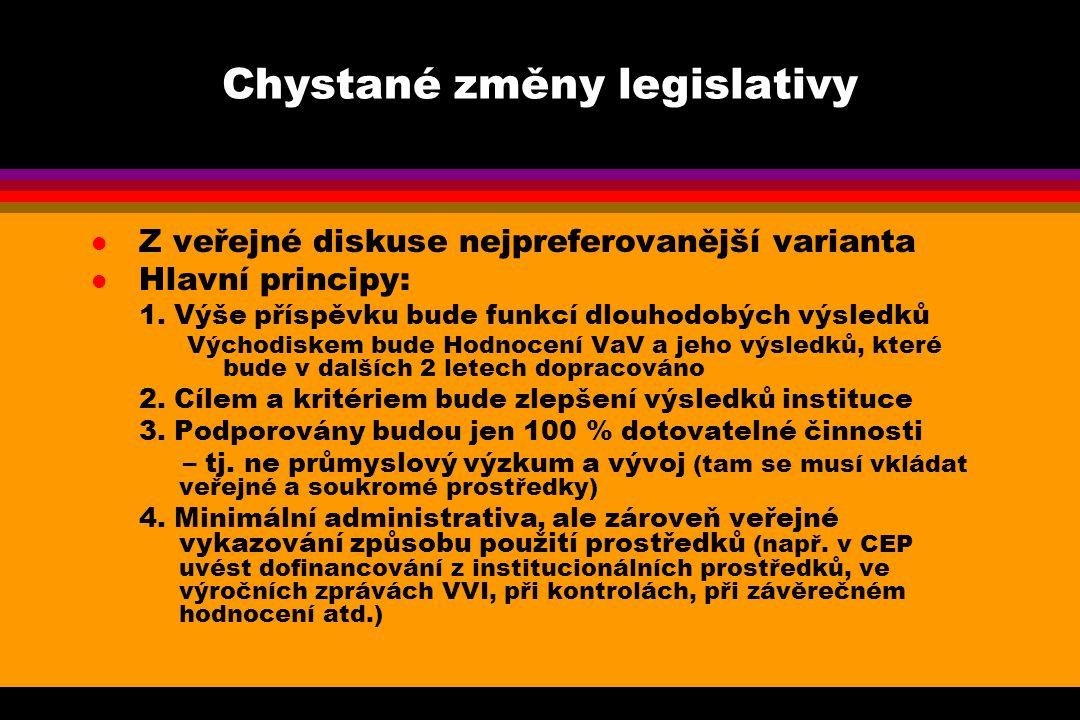 Chystané změny legislativy l Z veřejné diskuse nejpreferovanější varianta l Hlavní principy: 1.