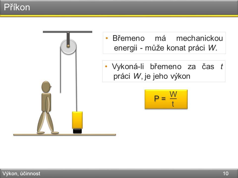 Příkon Výkon, účinnost 10 Břemeno má mechanickou energii - může konat práci W.