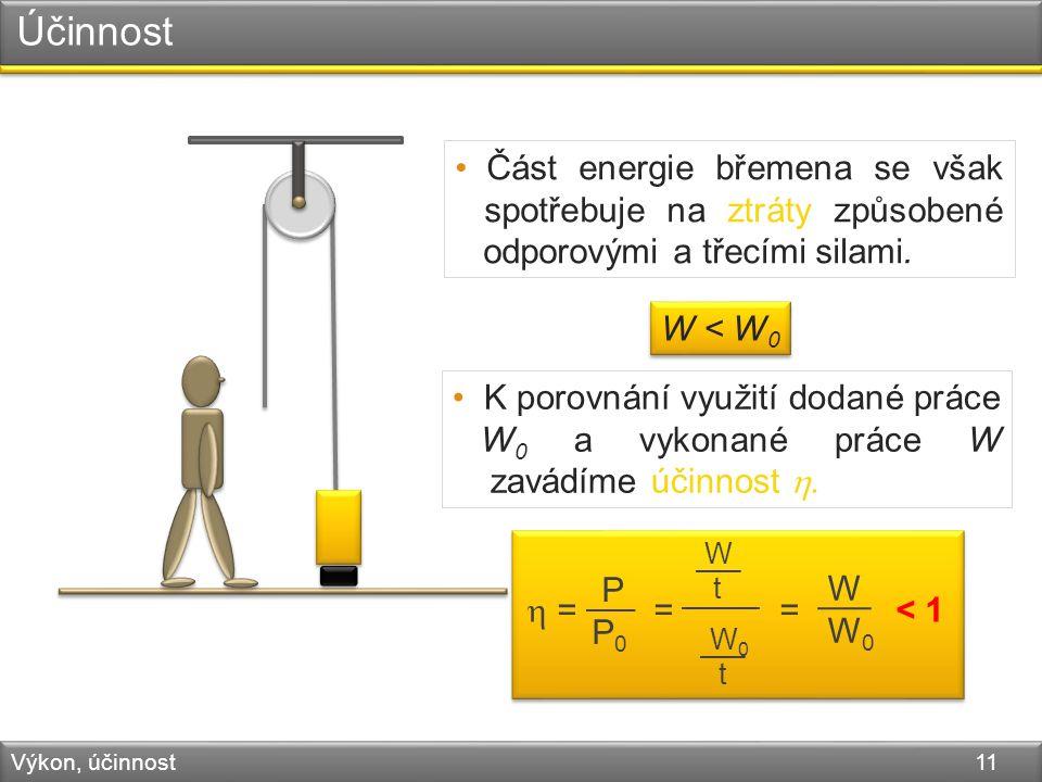 Účinnost Výkon, účinnost 11 Část energie břemena se však spotřebuje na ztráty způsobené odporovými a třecími silami.