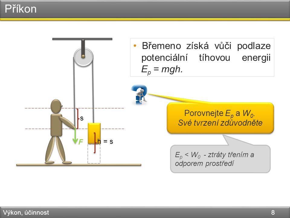 Příkon Výkon, účinnost 8 F s h = s Břemeno získá vůči podlaze potenciální tíhovou energii E p = mgh.