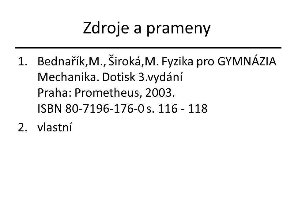 Zdroje a prameny 1.Bednařík,M., Široká,M. Fyzika pro GYMNÁZIA Mechanika. Dotisk 3.vydání Praha: Prometheus, 2003. ISBN 80-7196-176-0 s. 116 - 118 2.vl