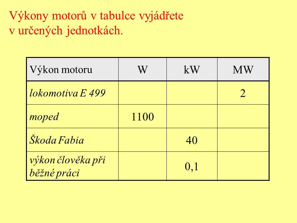Motor výtahu zvedl rovnoměrným pohybem svisle nahoru náklad s hmotností 1000 kg po dráze 5 m za dobu 10 s.