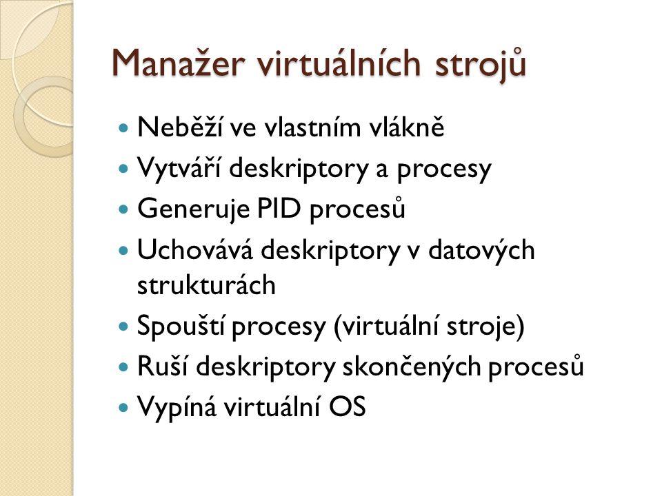 Manažer virtuálních strojů Neběží ve vlastním vlákně Vytváří deskriptory a procesy Generuje PID procesů Uchovává deskriptory v datových strukturách Spouští procesy (virtuální stroje) Ruší deskriptory skončených procesů Vypíná virtuální OS