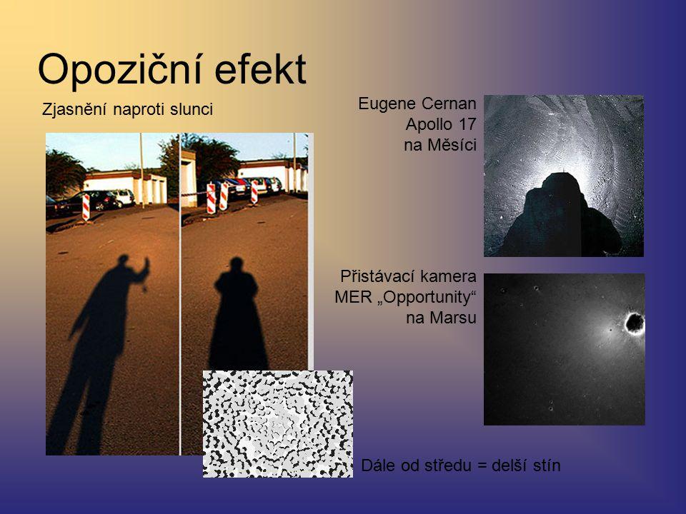 """Opoziční efekt Zjasnění naproti slunci Eugene Cernan Apollo 17 na Měsíci Přistávací kamera MER """"Opportunity na Marsu Dále od středu = delší stín"""