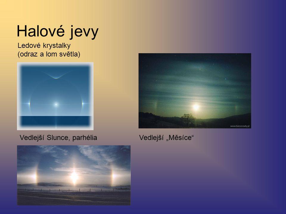 """Halové jevy Ledové krystalky (odraz a lom světla) Vedlejší Slunce, parhéliaVedlejší """"Měsíce"""