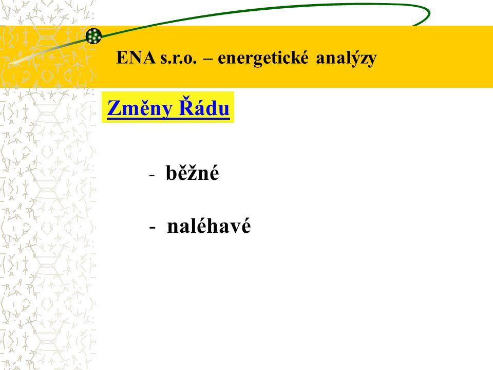 ENA s.r.o. – energetické analýzy Změny Řádu - běžné - naléhavé
