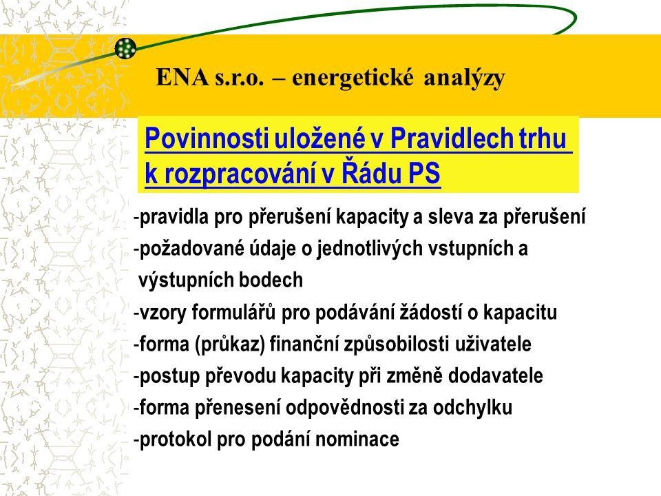ENA s.r.o. – energetické analýzy Povinnosti uložené v Pravidlech trhu k rozpracování v Řádu PS - pravidla pro přerušení kapacity a sleva za přerušení