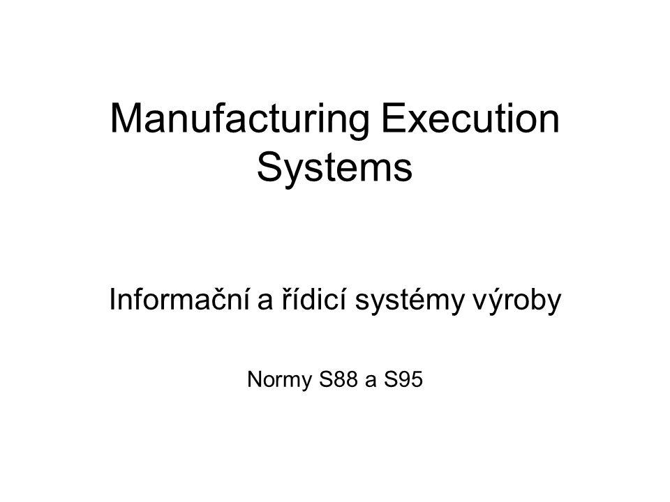 Manufacturing Execution Systems Informační a řídicí systémy výroby Normy S88 a S95