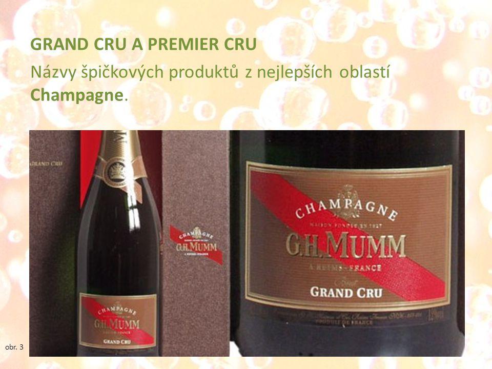 GRAND CRU A PREMIER CRU Názvy špičkových produktů z nejlepších oblastí Champagne. obr. 3