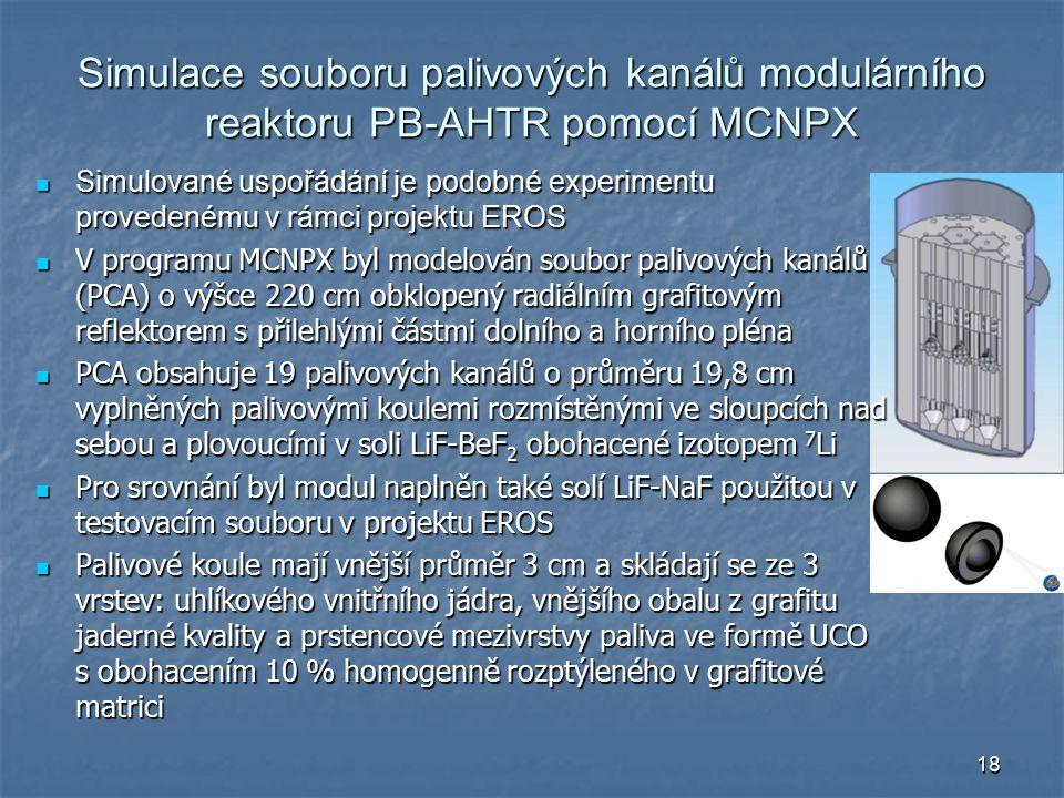 18 Simulace souboru palivových kanálů modulárního reaktoru PB-AHTR pomocí MCNPX Simulované uspořádání je podobné experimentu provedenému v rámci projektu EROS Simulované uspořádání je podobné experimentu provedenému v rámci projektu EROS V programu MCNPX byl modelován soubor palivových kanálů (PCA) o výšce 220 cm obklopený radiálním grafitovým reflektorem s přilehlými částmi dolního a horního pléna V programu MCNPX byl modelován soubor palivových kanálů (PCA) o výšce 220 cm obklopený radiálním grafitovým reflektorem s přilehlými částmi dolního a horního pléna PCA obsahuje 19 palivových kanálů o průměru 19,8 cm vyplněných palivovými koulemi rozmístěnými ve sloupcích nad sebou a plovoucími v soli LiF-BeF 2 obohacené izotopem 7 Li PCA obsahuje 19 palivových kanálů o průměru 19,8 cm vyplněných palivovými koulemi rozmístěnými ve sloupcích nad sebou a plovoucími v soli LiF-BeF 2 obohacené izotopem 7 Li Pro srovnání byl modul naplněn také solí LiF-NaF použitou v testovacím souboru v projektu EROS Pro srovnání byl modul naplněn také solí LiF-NaF použitou v testovacím souboru v projektu EROS Palivové koule mají vnější průměr 3 cm a skládají se ze 3 vrstev: uhlíkového vnitřního jádra, vnějšího obalu z grafitu jaderné kvality a prstencové mezivrstvy paliva ve formě UCO s obohacením 10 % homogenně rozptýleného v grafitové matrici Palivové koule mají vnější průměr 3 cm a skládají se ze 3 vrstev: uhlíkového vnitřního jádra, vnějšího obalu z grafitu jaderné kvality a prstencové mezivrstvy paliva ve formě UCO s obohacením 10 % homogenně rozptýleného v grafitové matrici