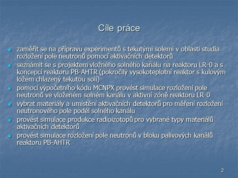 2 Cíle práce zaměřit se na přípravu experimentů s tekutými solemi v oblasti studia rozložení pole neutronů pomocí aktivačních detektorů zaměřit se na přípravu experimentů s tekutými solemi v oblasti studia rozložení pole neutronů pomocí aktivačních detektorů seznámit se s projektem vložného solného kanálu na reaktoru LR-0 a s koncepcí reaktoru PB-AHTR (pokročilý vysokoteplotní reaktor s kulovým ložem chlazený tekutou solí) seznámit se s projektem vložného solného kanálu na reaktoru LR-0 a s koncepcí reaktoru PB-AHTR (pokročilý vysokoteplotní reaktor s kulovým ložem chlazený tekutou solí) pomocí výpočetního kódu MCNPX provést simulace rozložení pole neutronů ve vloženém solném kanálu v aktivní zóně reaktoru LR-0 pomocí výpočetního kódu MCNPX provést simulace rozložení pole neutronů ve vloženém solném kanálu v aktivní zóně reaktoru LR-0 vybrat materiály a umístění aktivačních detektorů pro měření rozložení neutronového pole podél solného kanálu vybrat materiály a umístění aktivačních detektorů pro měření rozložení neutronového pole podél solného kanálu provést simulace produkce radioizotopů pro vybrané typy materiálů aktivačních detektorů provést simulace produkce radioizotopů pro vybrané typy materiálů aktivačních detektorů provést simulace rozložení pole neutronů v bloku palivových kanálů reaktoru PB-AHTR provést simulace rozložení pole neutronů v bloku palivových kanálů reaktoru PB-AHTR
