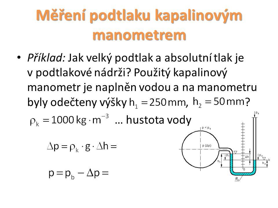 Měření podtlaku kapalinovým manometrem Příklad: Jak velký podtlak a absolutní tlak je v podtlakové nádrži? Použitý kapalinový manometr je naplněn vodo
