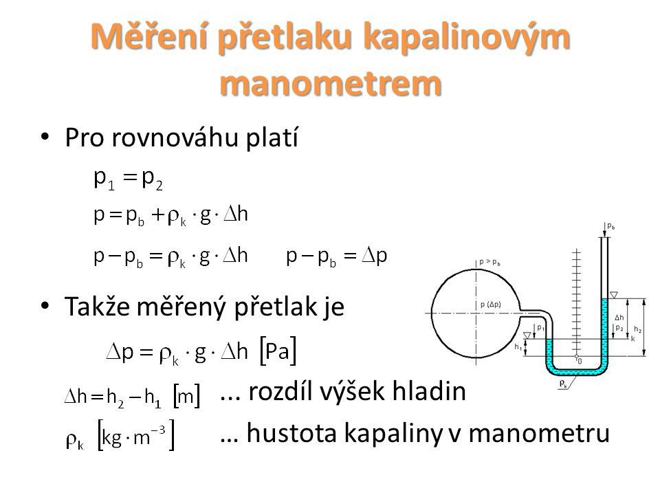 Měření přetlaku kapalinovým manometrem Pro rovnováhu platí Takže měřený přetlak je... rozdíl výšek hladin … hustota kapaliny v manometru