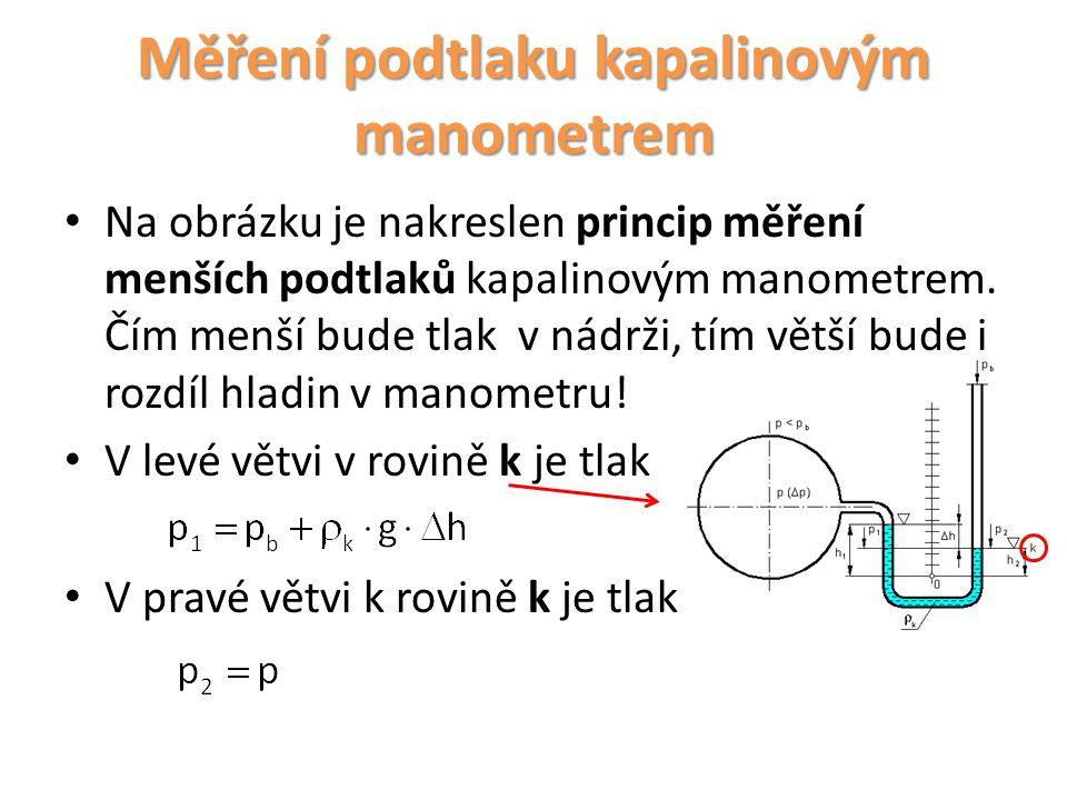 Na obrázku je nakreslen princip měření menších podtlaků kapalinovým manometrem. Čím menší bude tlak v nádrži, tím větší bude i rozdíl hladin v manomet